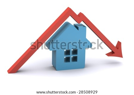 A 3d Rendered Illustration showing a fall in the Housing Market