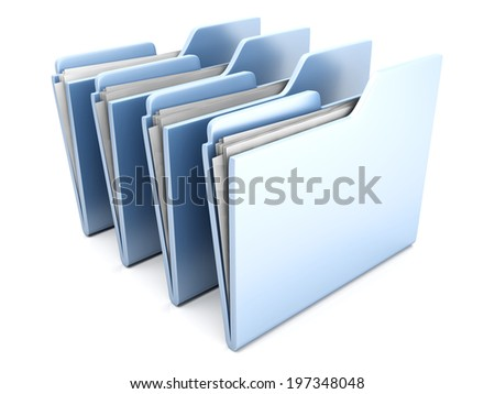 A 3D rendered row of Folders containing paperwork.