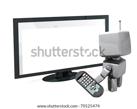 a 3D rendered white robot with a remote control in front of a white screen television; isolated on white background