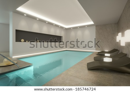 A 3D rendering image of an indoor pool SPA - stock photo
