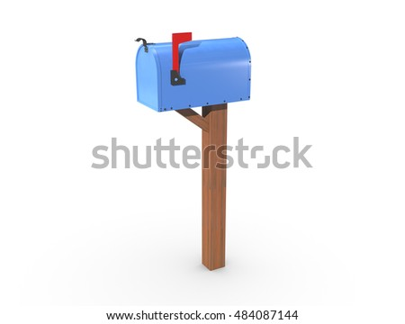 A 3D rendering of a blue and empty US Mailbox, closed with clean casing and red flag up.