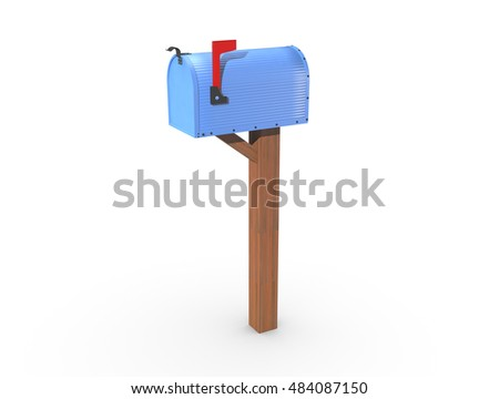 A 3D rendering of a blue and empty US Mailbox, closed with corrugated casing and red flag up.