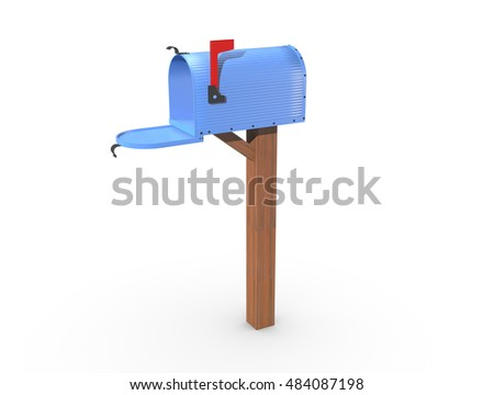 A 3D rendering of a blue and empty US Mailbox, open with corrugated casing and red flag up.