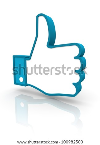 A 3D rendering of a blue social icon hand giving the thumbs up in approvement - stock photo