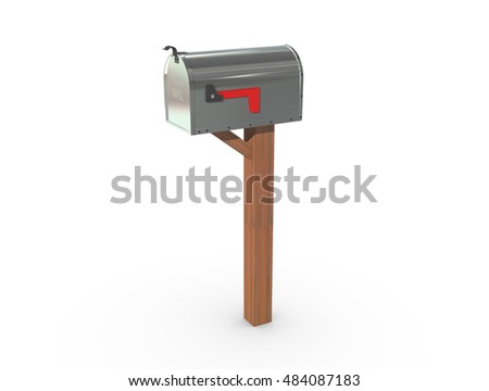 A 3D rendering of a chrome and empty US Mailbox, closed with clean casing and red flag down.