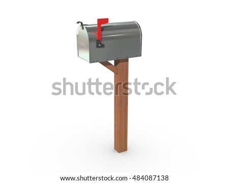 A 3D rendering of a chrome and empty US Mailbox, closed with clean casing and red flag up.