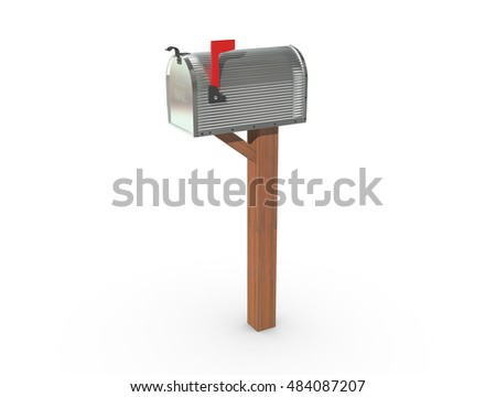 A 3D rendering of a chrome and empty US Mailbox, closed with corrugated casing and red flag up.