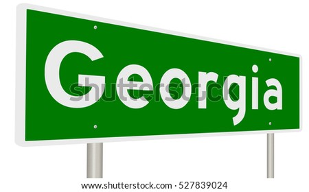 A 3d rendering of a green highway sign for Georgia