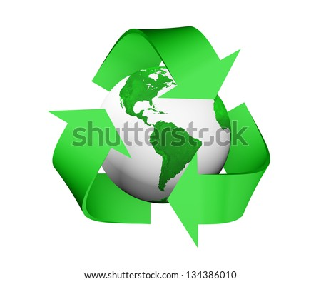 a 3D rendering of a green recycle icon that is covering earth with green lands and white seas, isolated on a white background - stock photo