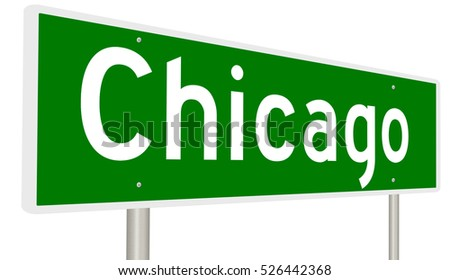 A 3d rendering of a highway sign for Chicago, Illinois