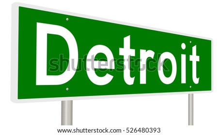 A 3d rendering of a highway sign for Detroit, Michigan
