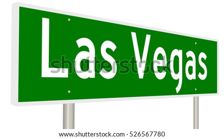 A 3d rendering of a highway sign for Las Vegas