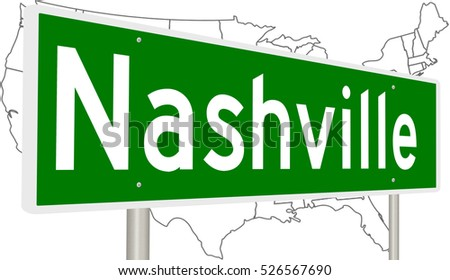 A 3d Rendering Of A Highway Sign For Nashville Tennessee With United States Map