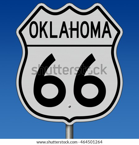 A 3d rendering of a highway sign for Oklahoma route 66