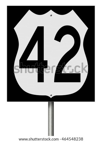 A 3d rendering of a highway sign for Route 42
