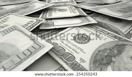 A 3D rendering of a macro close-up view of a messy scattered pile of us dollar banknotes