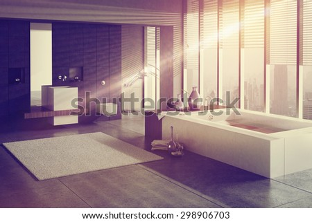 A 3D rendering of a modern bathroom with single basin and jacuzzi