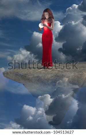A 3d rendering of a pretty girl gazing into a magical glowing sphere while perched high atop an ornate platform