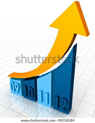 A 3D rendering of a simple curved business bar graph on a white reflective background showing an ornage arrow curving upwards to show profits and gains from the years 2009, 2010, 2011 to 2012 - stock photo