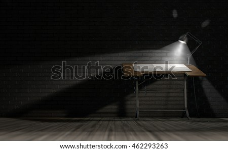 A 3D rendering of a vintage draftsmans desk with a sheet of blank paper illumintaed by a classic desk lamp on an dark room background
