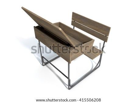 A 3D rendering of an empty vintage wooden school desk with an open hinged lid and bench seat on an isolated white studio background