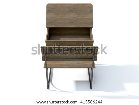 A 3D rendering of an empty vintage wooden school desk with an open hinged lid and bench seat on an isolated white studio background - stock photo