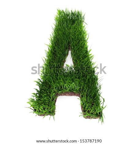 A 3D rendering of an upper case A in grass - stock photo