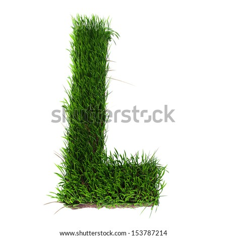 A 3D rendering of an upper case L in grass - stock photo