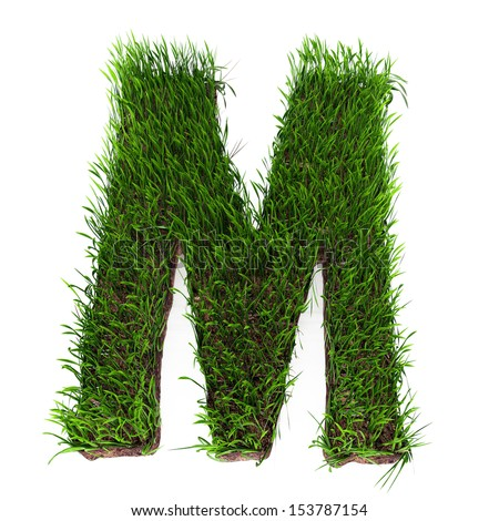 A 3D rendering of an upper case M in grass - stock photo