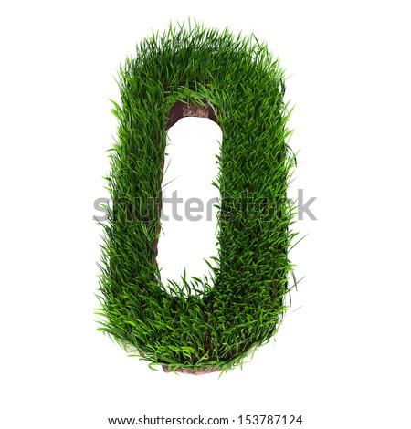 A 3D rendering of an upper case O in grass - stock photo
