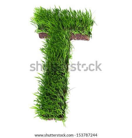 A 3D rendering of an upper case T in grass - stock photo