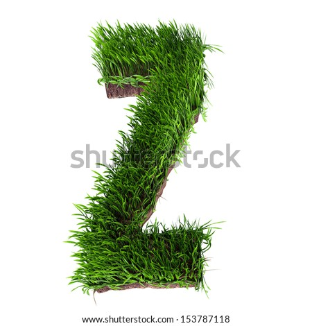 A 3D rendering of an upper case Z in grass - stock photo