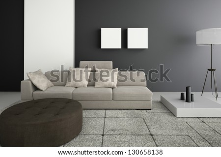 A 3D rendering of beige sofa - stock photo