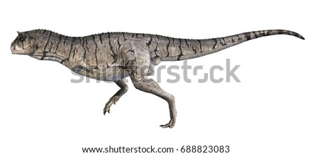 A 3D rendering of Carnotaurus sastrei running, isolated on a white background.