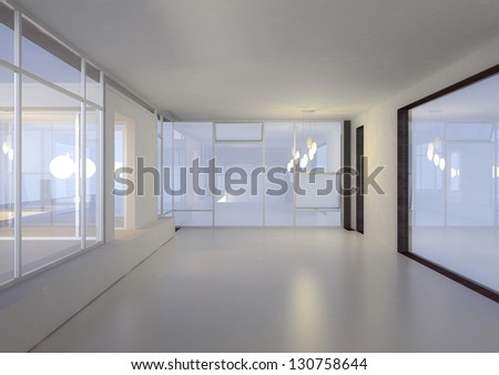 A 3D rendering of empty interior