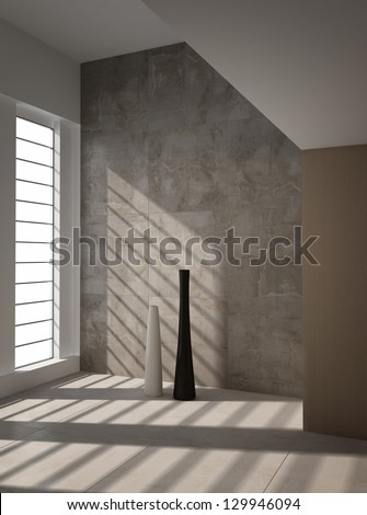 A 3D rendering of empty interior with vases - stock photo