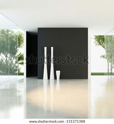 A 3D rendering of empty living room with vases - stock photo