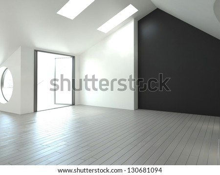 A 3D rendering of empty loft interior - stock photo