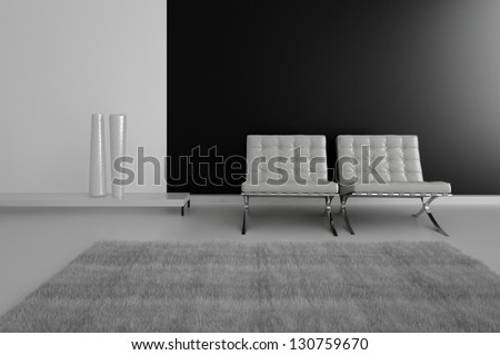 A 3D rendering of empty room with modern chairs - stock photo