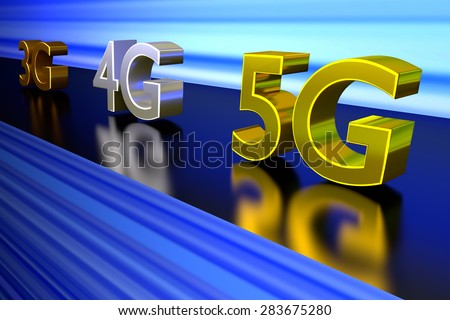 A 3D rendering of 3G 4G and 5G network speeds racing on a track.