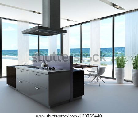 A 3D rendering of kitchen of a villa - stock photo