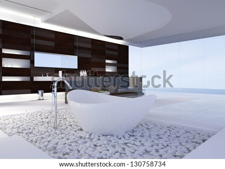 A 3D rendering of modern bathroom - stock photo