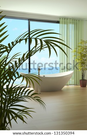 A 3D rendering of modern bathtub against large window - stock photo