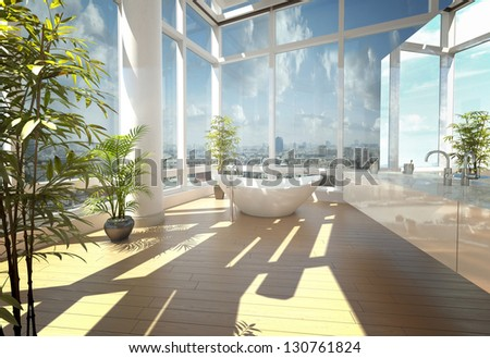A 3D rendering of modern bathtub against large windows - stock photo
