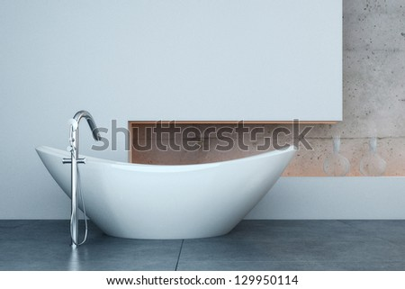 A 3D rendering of modern bathtub in front of white wall - stock photo
