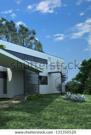 A 3D rendering of modern cottage exterior