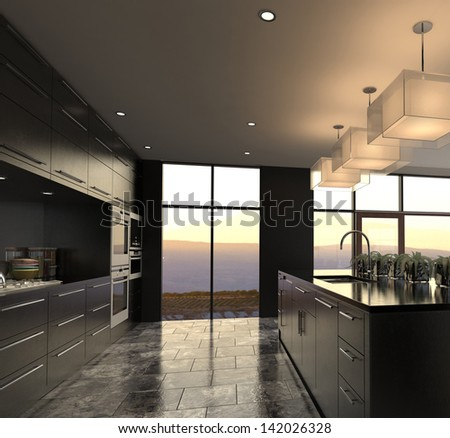 A 3d rendering of Modern Design Luxurious Kitchen Interior - stock photo