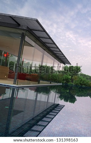 A 3D rendering of modern house