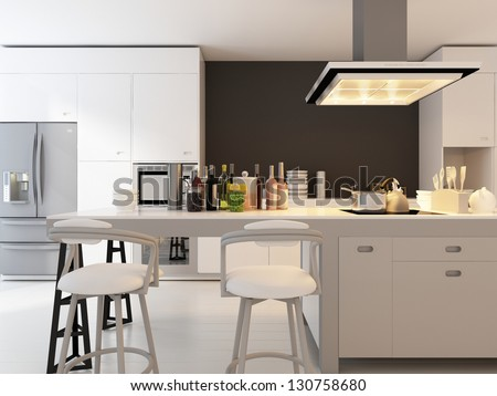 A 3D rendering of modern kitchen - stock photo