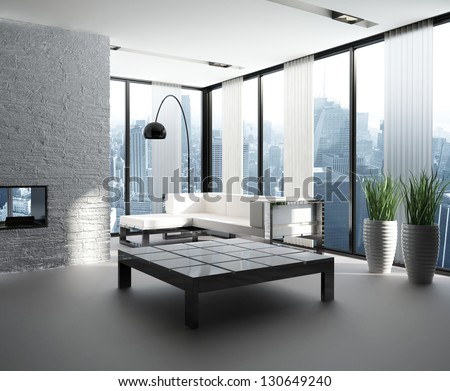 A 3D rendering of modern living room interior - stock photo